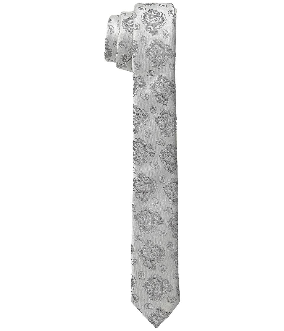 Dolce & Gabbana - Paisley Narrow Silk Tie (Silver/Silver Paisley Print) Ties
