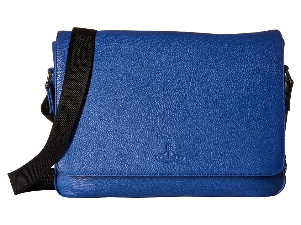 Vivienne Westwood - Leather Messenger Bag (Blue) Messenger Bags