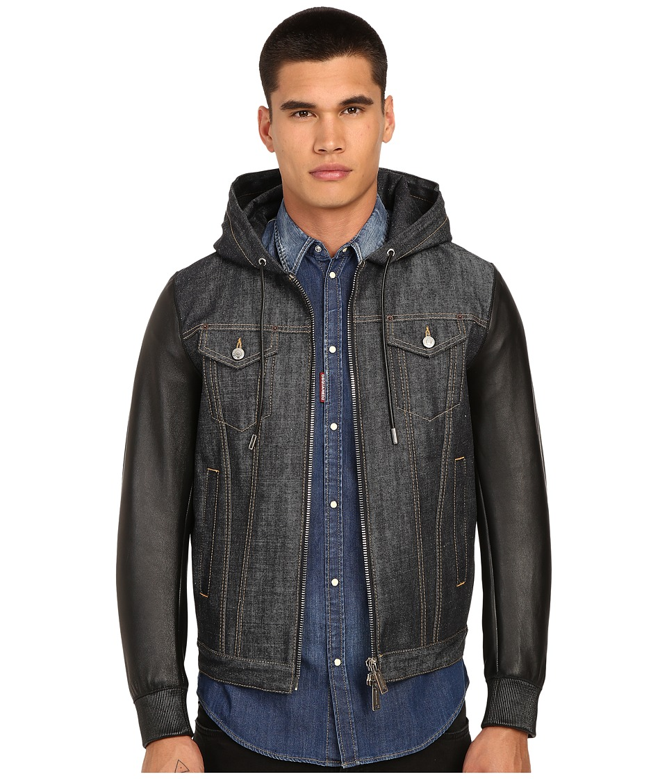 DSQUARED2 - Tough Hooded Mixed Leather Bomber (Blue) Men's Coat