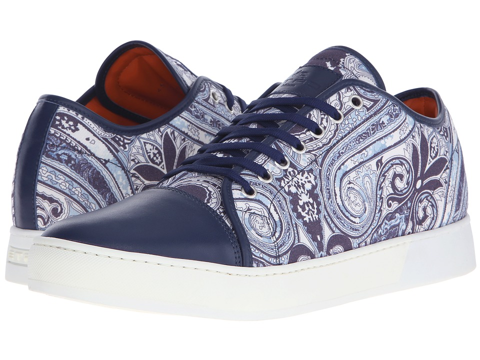 Etro - Paisley Leather Toe Sneaker (Blue Paisley) Men's Lace up casual Shoes