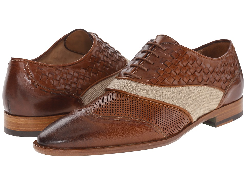 Etro - Mixed Leather Wingtip (Tobacco) Men's Lace Up Wing Tip Shoes