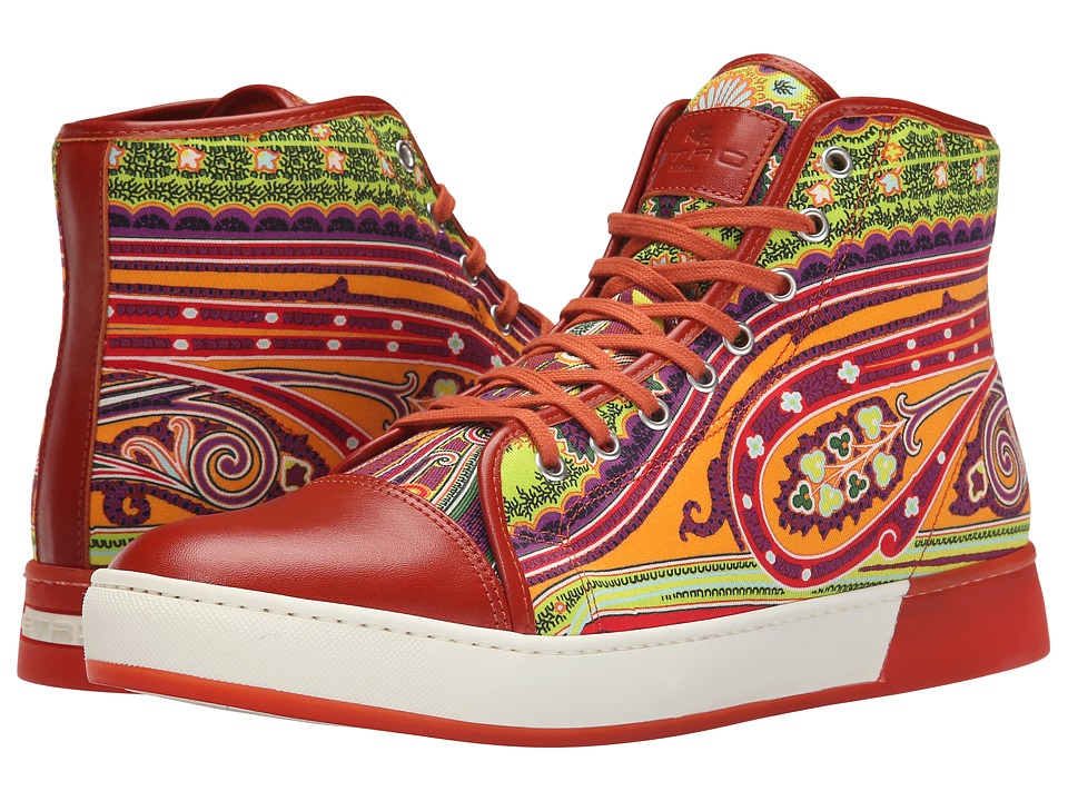 Etro - Paisley Leather Toe Hi-Top (Orange Paisley) Men's Lace up casual Shoes