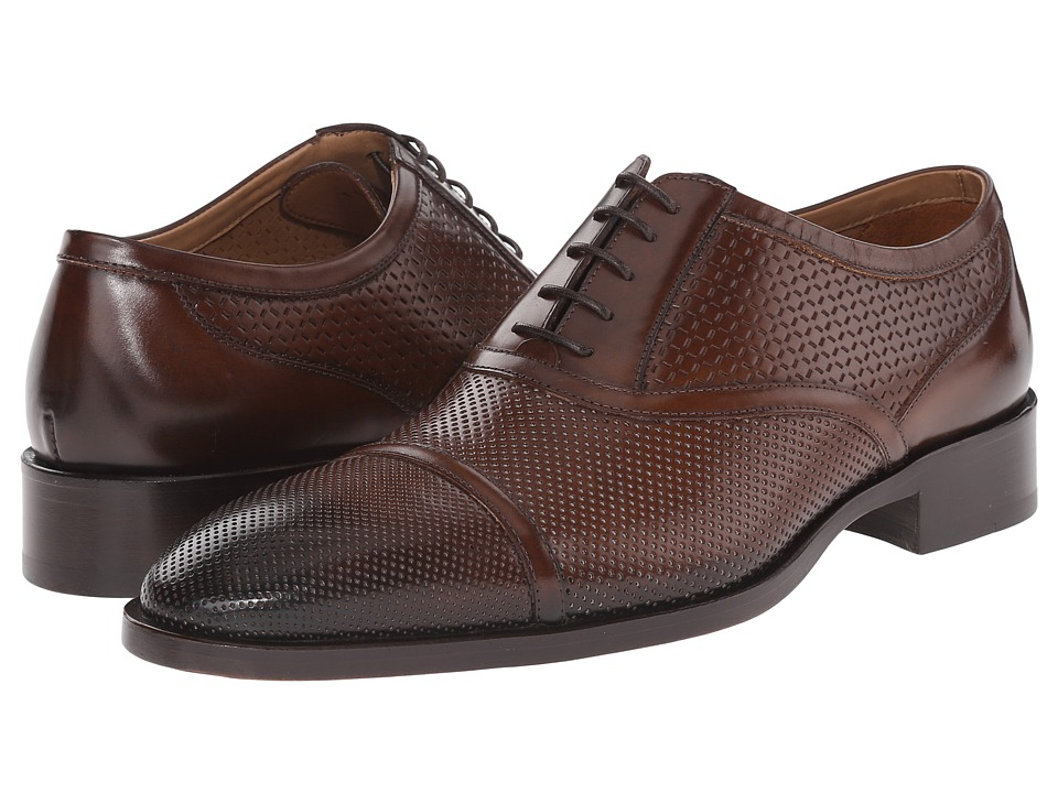 Etro - Mixed Leather Cap Toe Oxford (Brown) Men's Lace Up Cap Toe Shoes