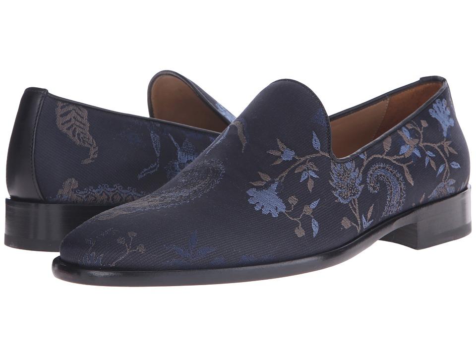 Etro - Paisley Floral Evening Slipper (Black/Blue) Men's Slip on Shoes