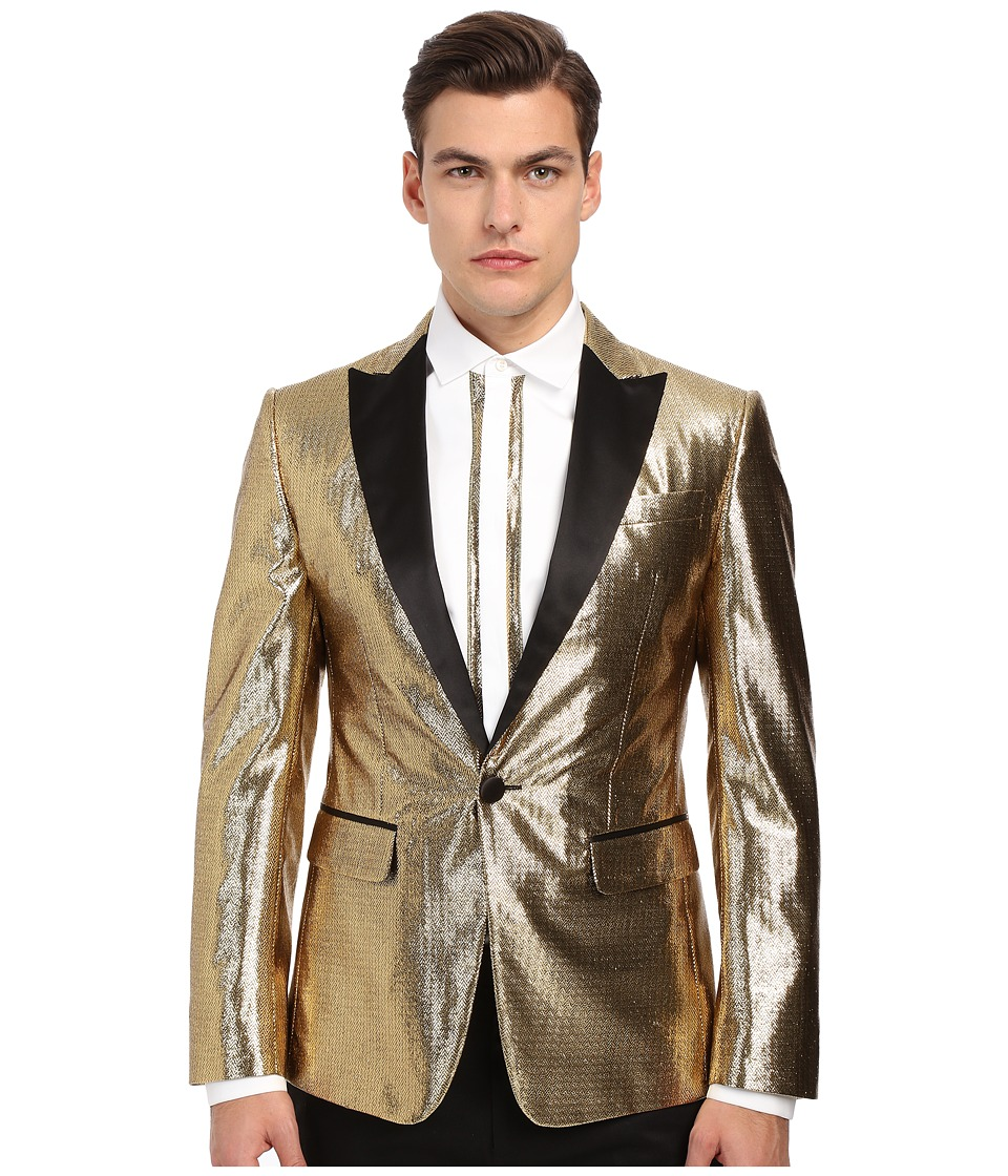DSQUARED2 - London Velvet Jacquard Tuxedo Jacket (Gold) Men's Coat