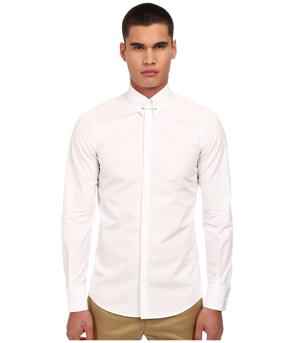 DSQUARED2 - Slim Poplin Pin Collar Shirt (White) Men's Long Sleeve Button Up