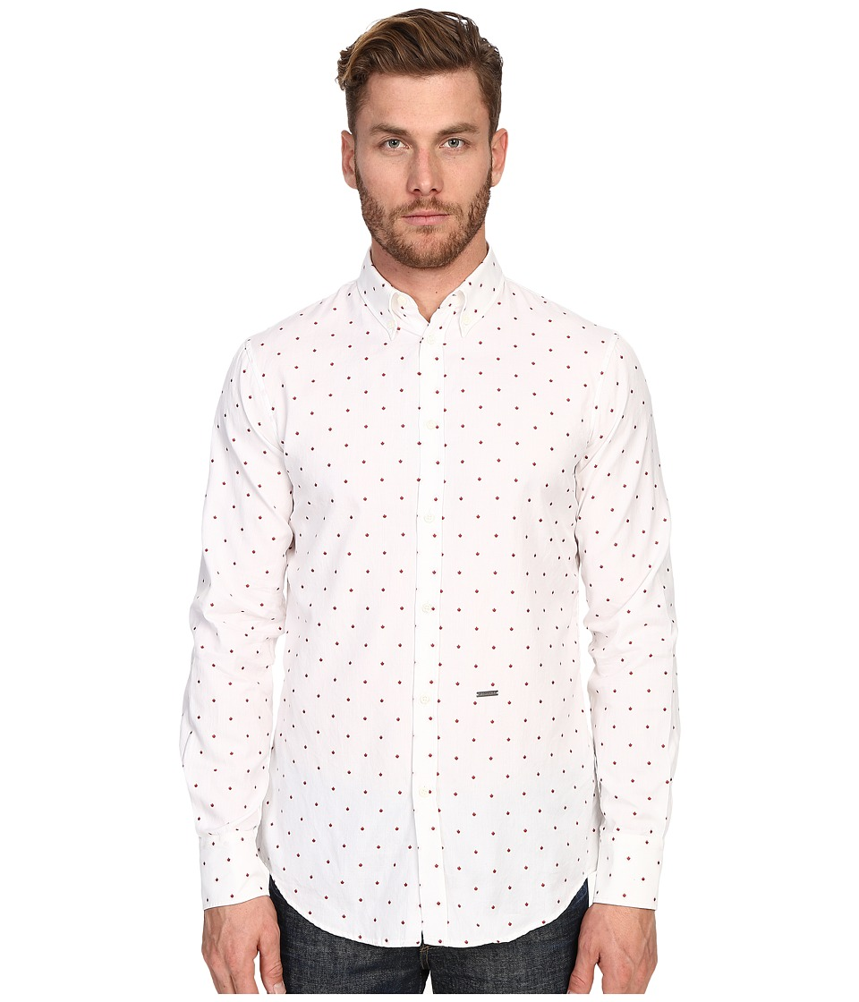 DSQUARED2 - Maple Polka Dot Button Down (White/Red) Men's Clothing
