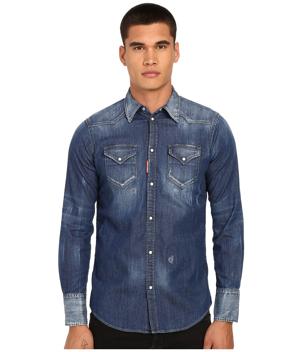 DSQUARED2 - Western Stretch Denim Shirt (Blue) Men's Clothing