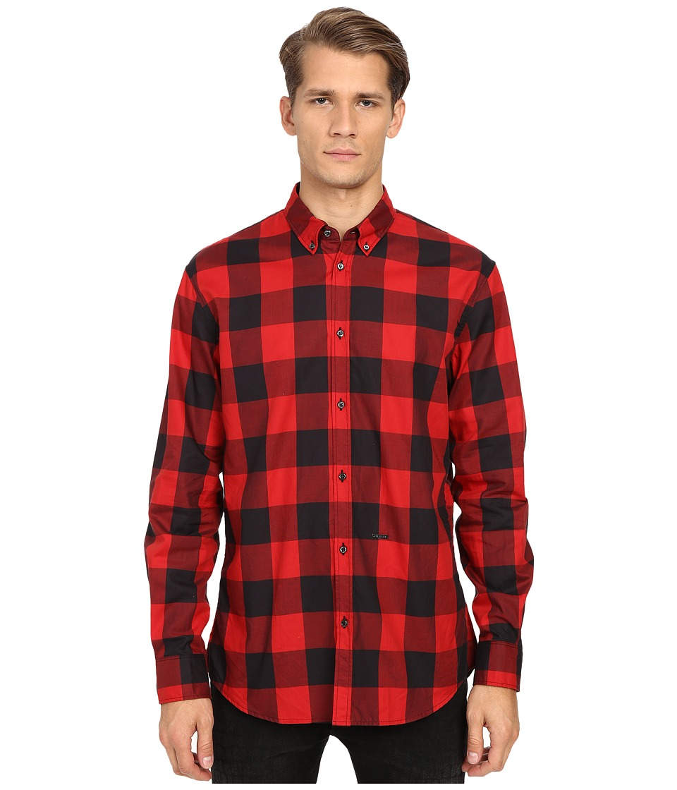 DSQUARED2 - Relax Dan Check Cotton Shirt (Black/Red) Men's Clothing