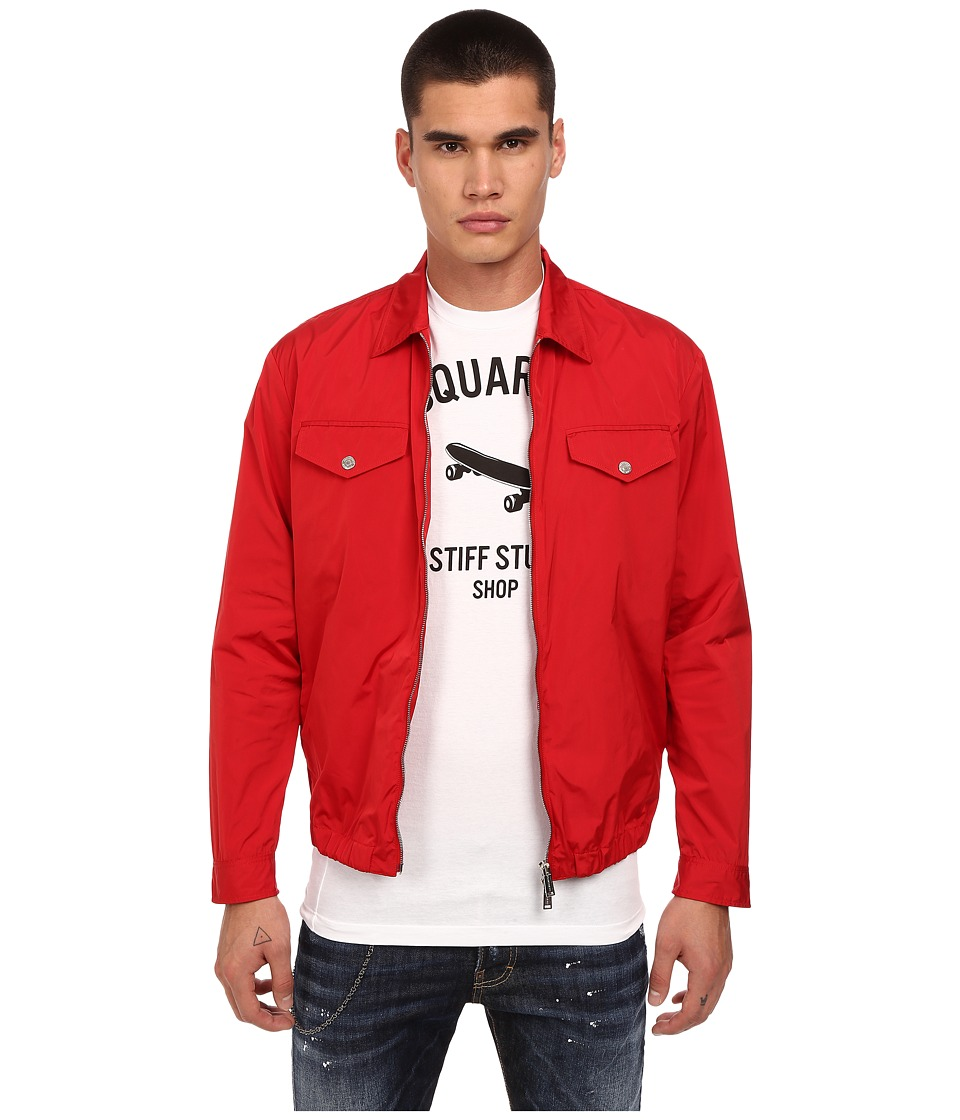 DSQUARED2 - Windbreaker Nylon Shirt Jacket (Red) Men's Jacket