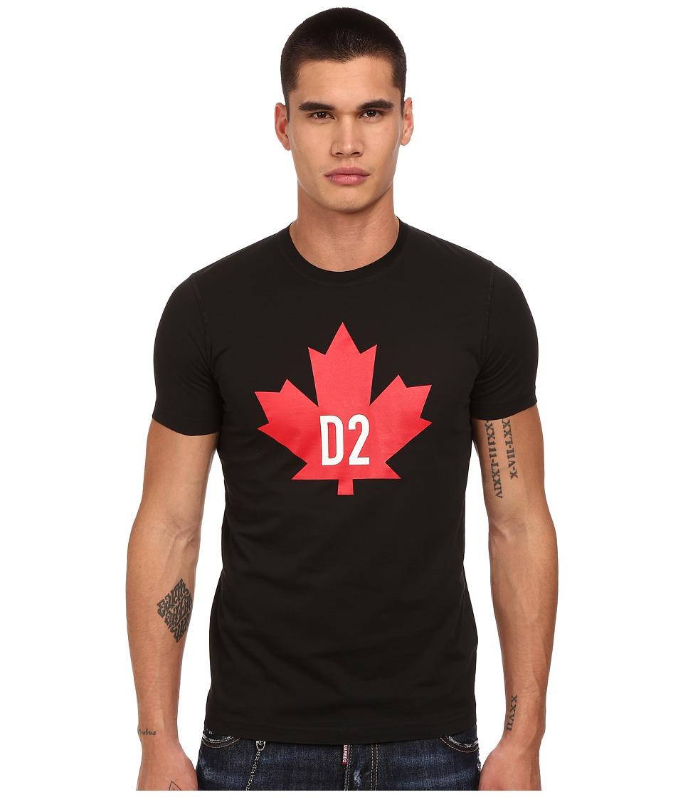 DSQUARED2 - Maple Leaf D2 Classic Fit T-Shirt (Black) Men