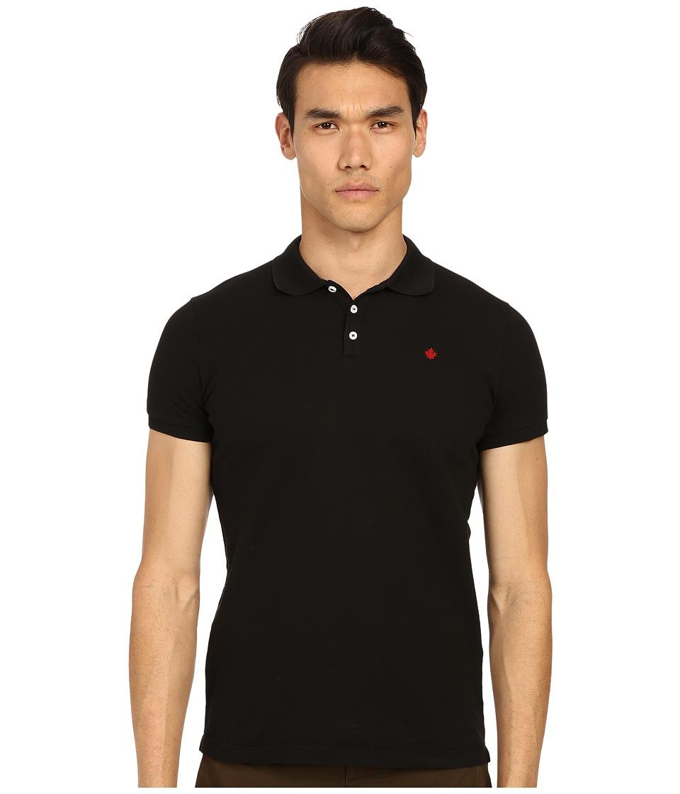 DSQUARED2 - Classic Fit Preppy Polo (Black) Men's Short Sleeve Knit