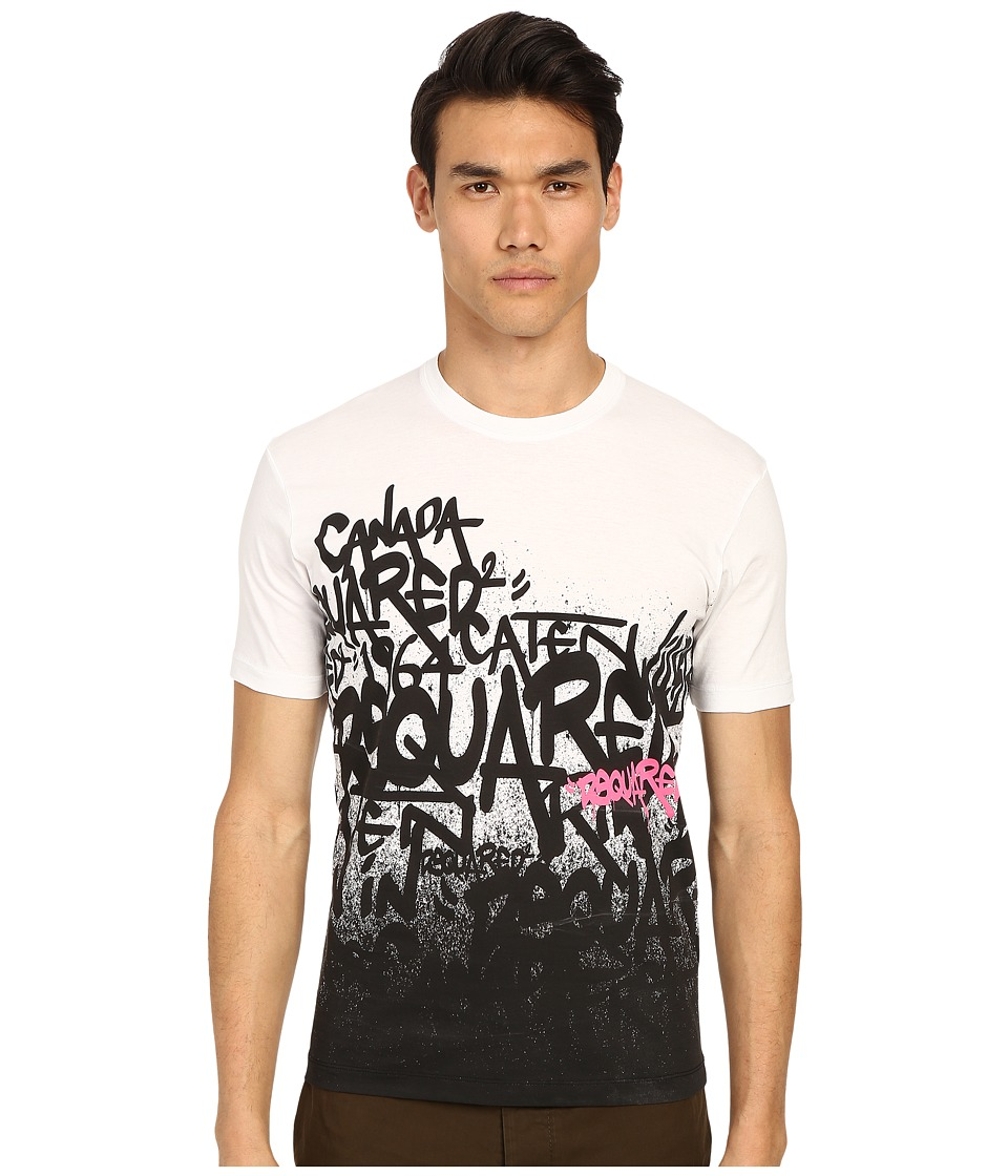 DSQUARED2 - All Over DS2 Graffiti T-Shirt (White) Men's T Shirt