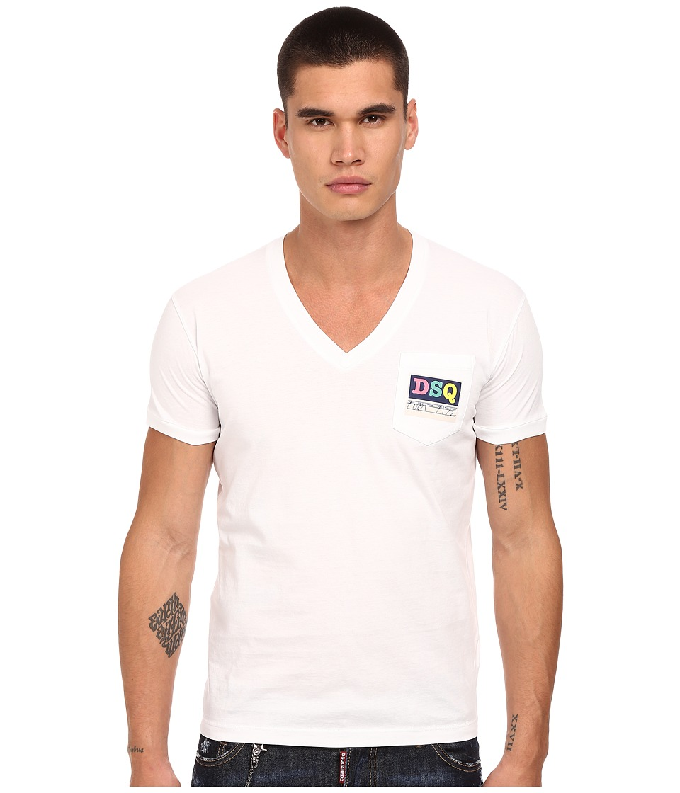 DSQUARED2 Logo Pocket V-Neck T-Shirt (White) Men