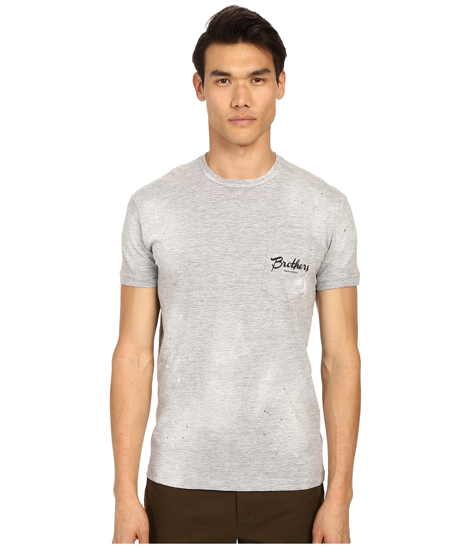 DSQUARED2 Clothesline Dan Pocket T-Shirt (Grey Melange) Men