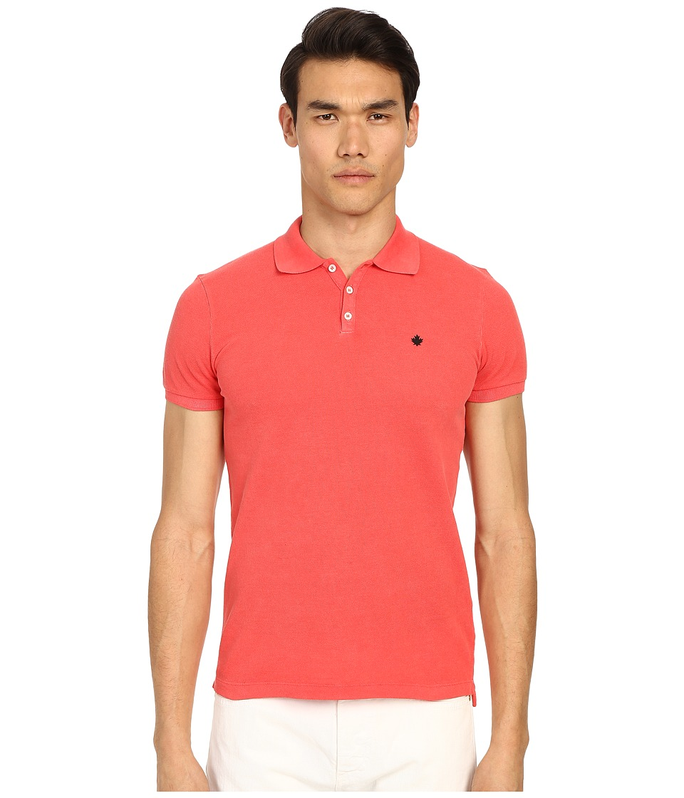 DSQUARED2 - Classic Fit Preppy Polo (Red) Men's Short Sleeve Knit