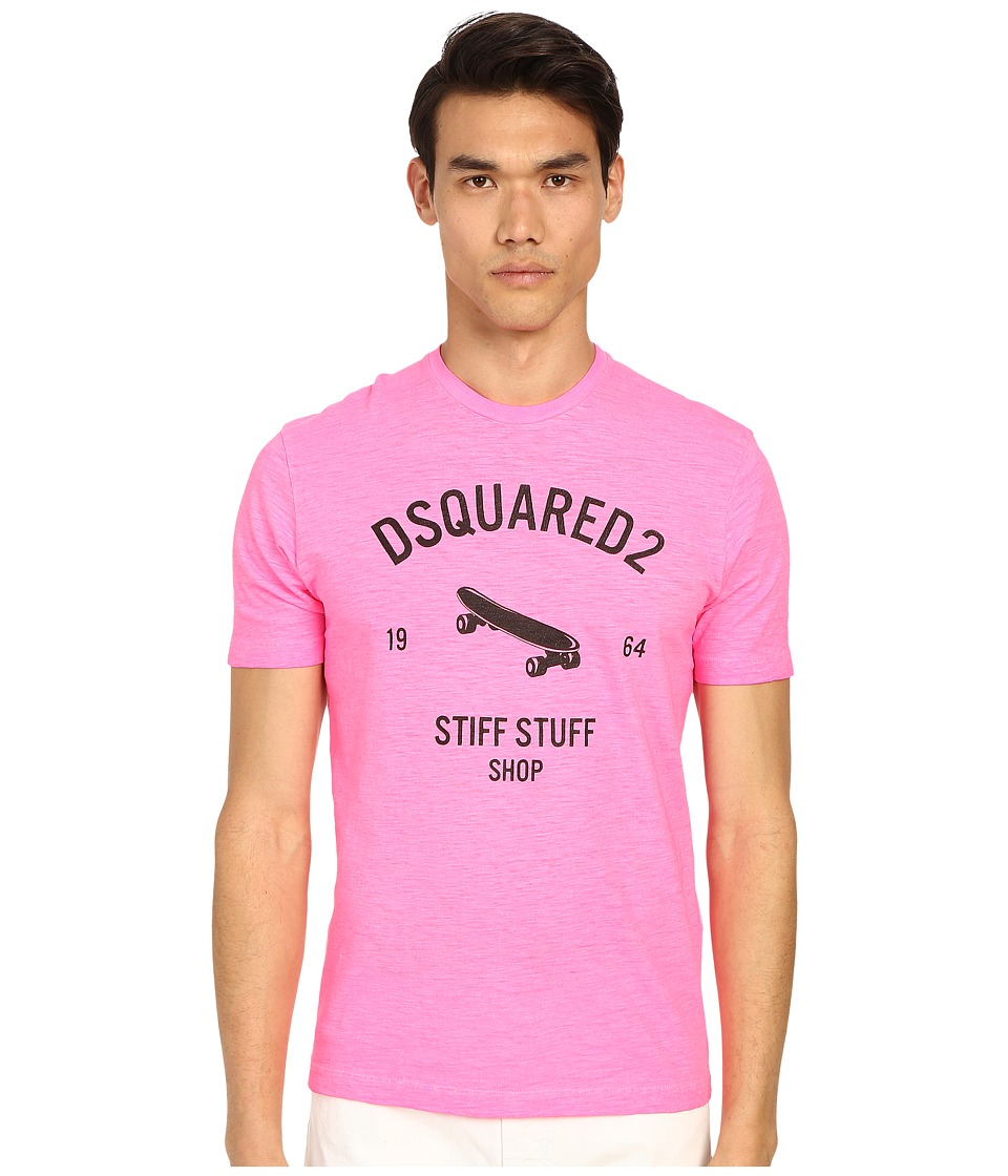 DSQUARED2 - Stiff Stuff T-Shirt (Pink Flourescent) Men's T Shirt
