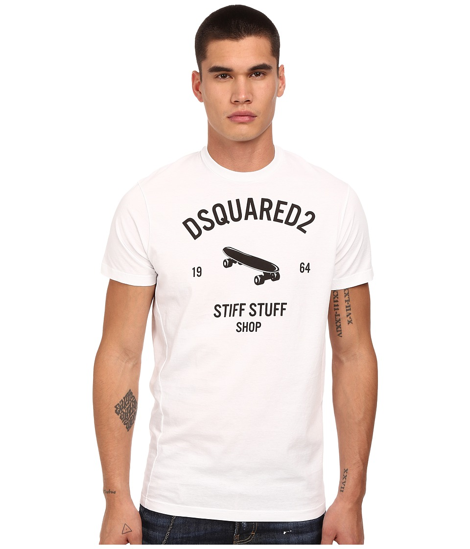 DSQUARED2 - Stiff Stuff Twisted Fit T-Shirt (White) Men's T Shirt