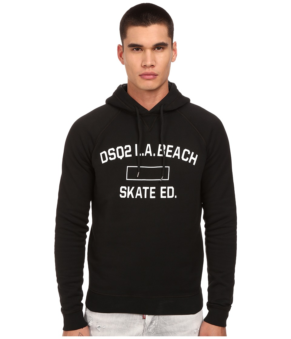 DSQUARED2 - Skate Education Pullover Hoodie (Black) Men's Sweatshirt