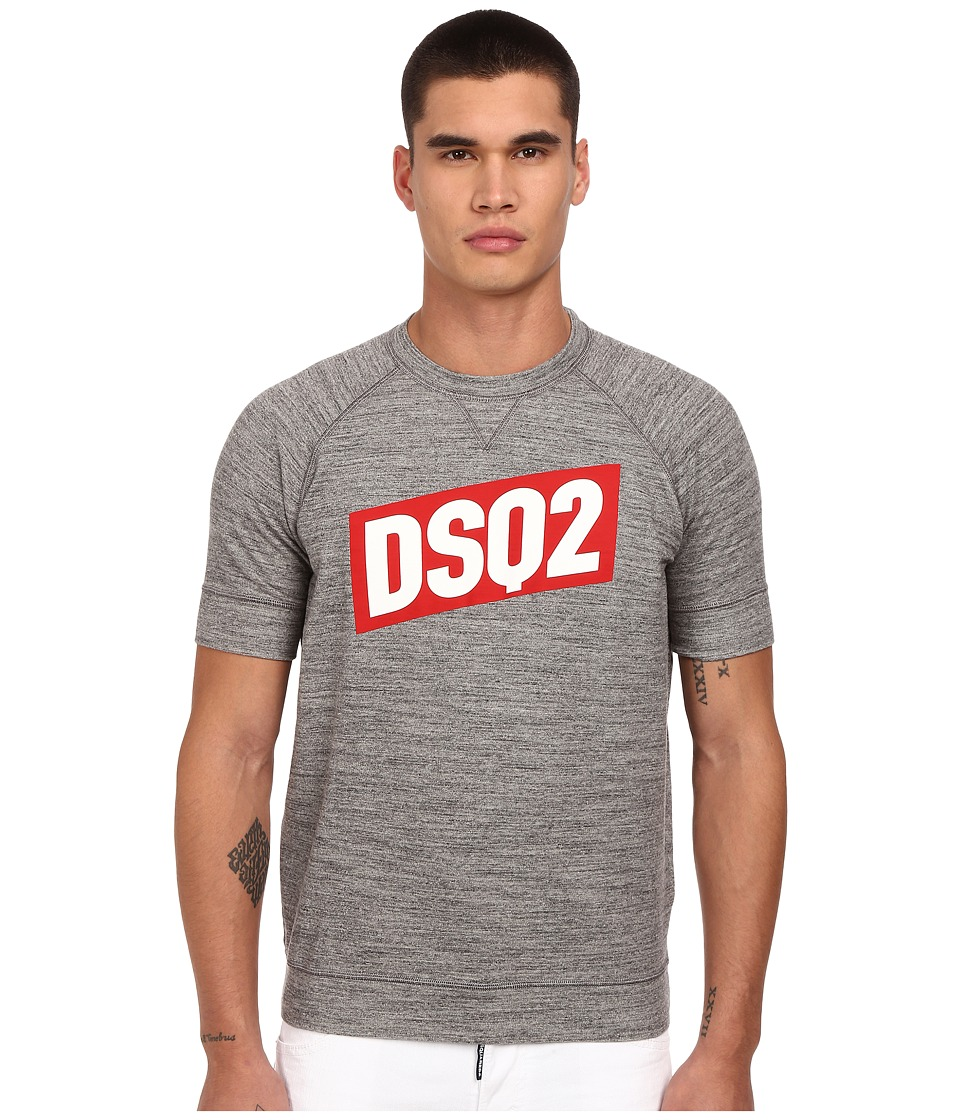 DSQUARED2 - Sexy Muscle Block Logo Sweatshirt (Grey Melange) Men's Sweatshirt