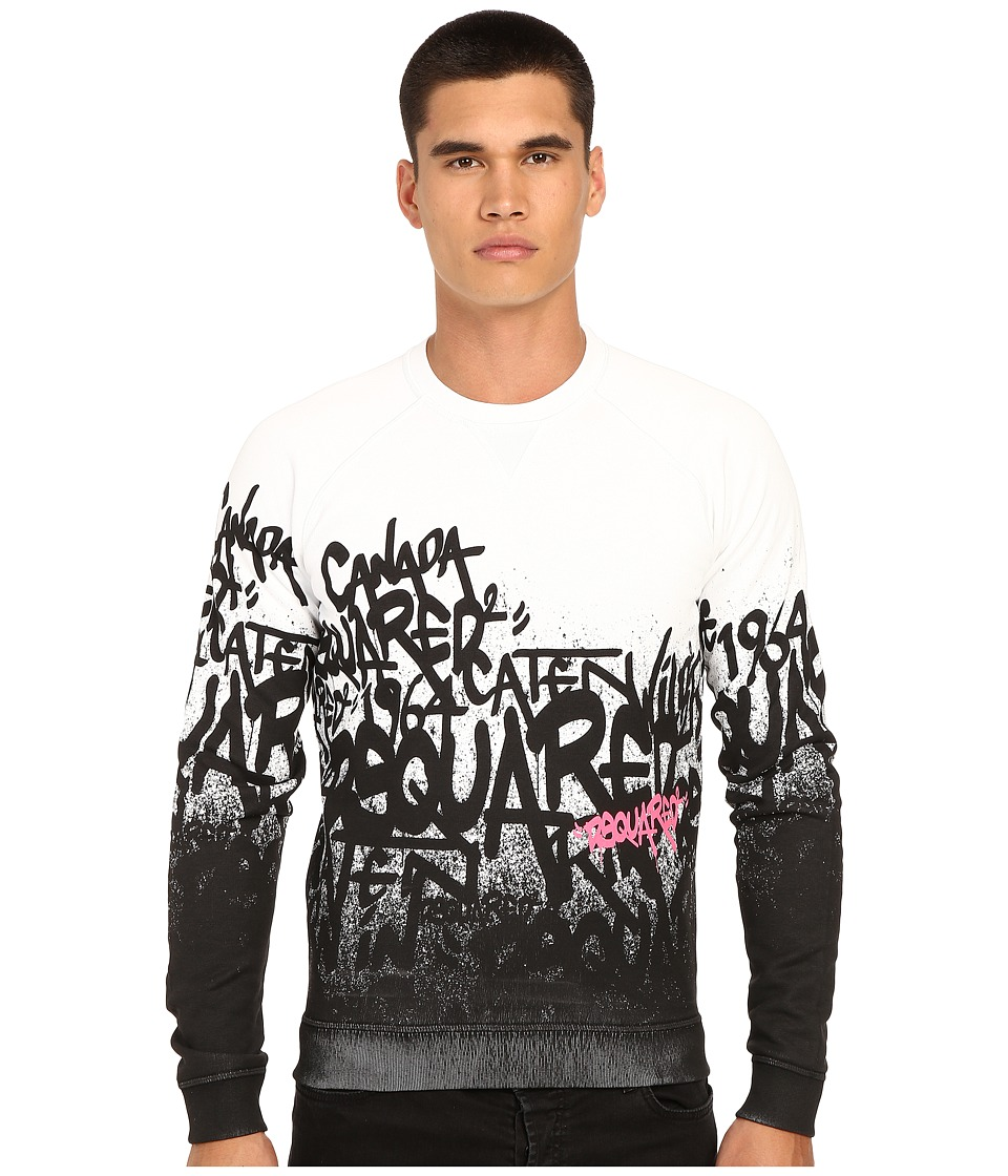 DSQUARED2 - All Over DS2 Graffiti Sweatshirt (White) Men's Sweatshirt