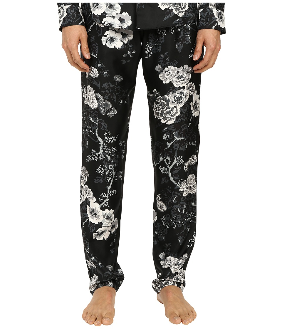 Dolce & Gabbana - Pajama Pants (Black/White Rose Print) Men's Pajama