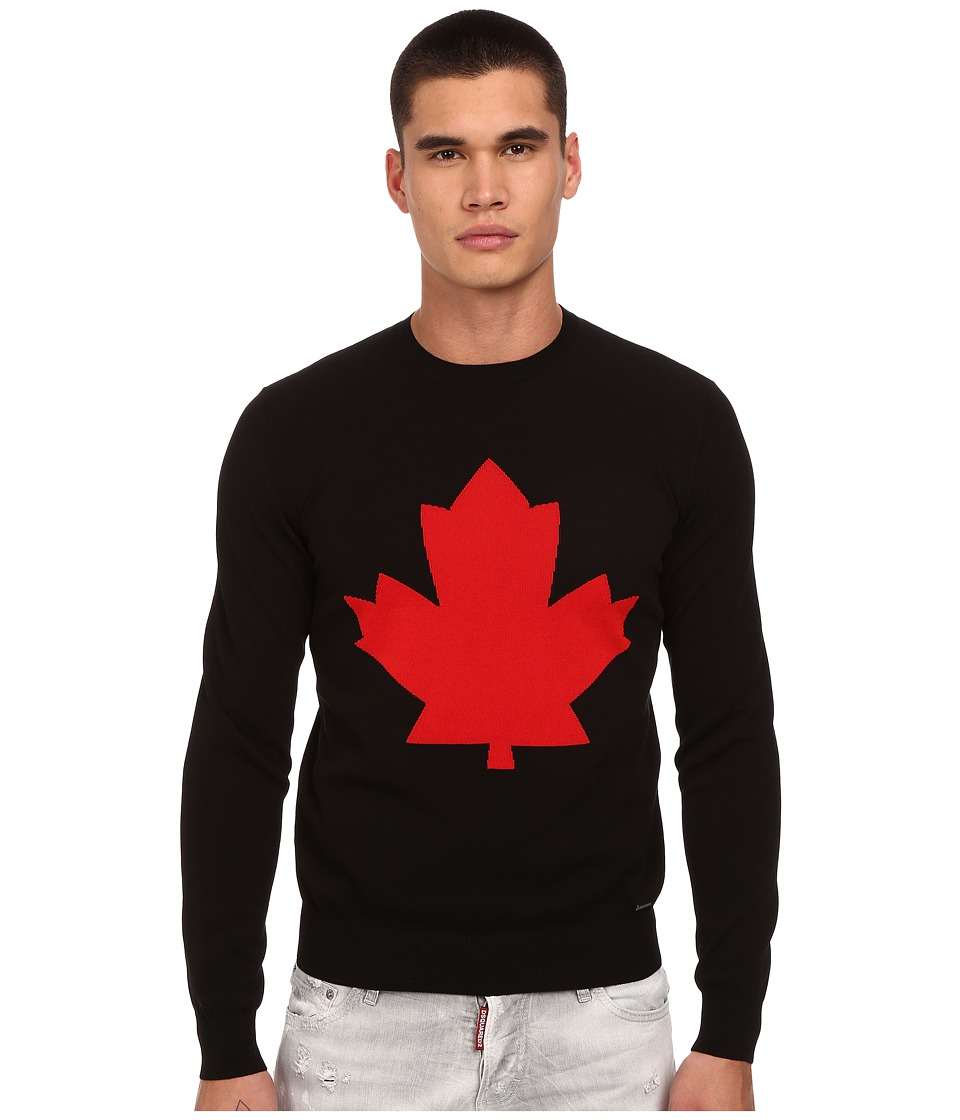 DSQUARED2 - Maple Leaf Crew Neck Sweater (Black/Red) Men's Sweater