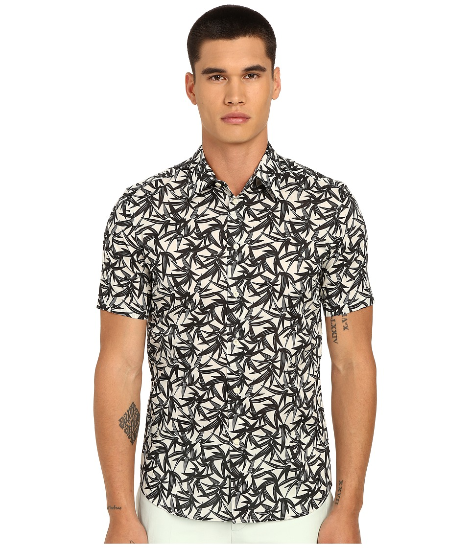 Marc Jacobs - Layered Leaf Slim Short Sleeve Button Up (Ivory Multi) Men's Short Sleeve Button Up