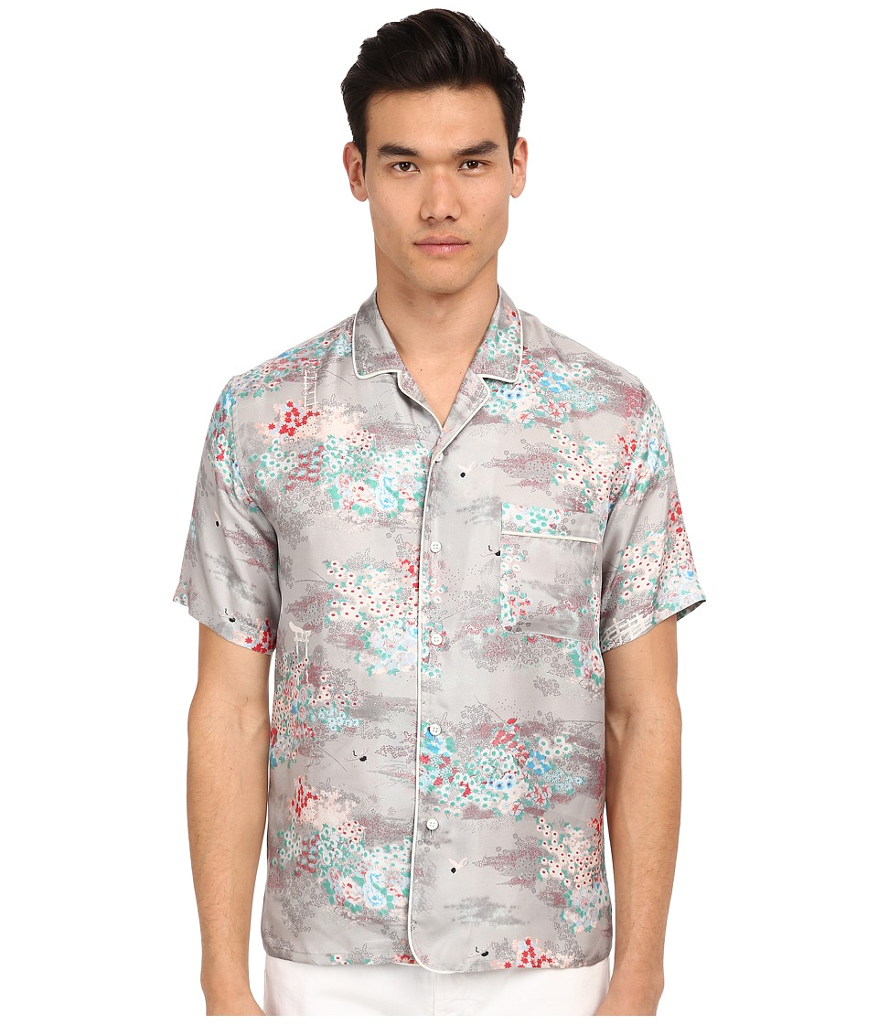 Marc Jacobs - Mellow Meadow Silk Classic Short Sleeve Button Up (Grey Multi) Men's Short Sleeve Button Up