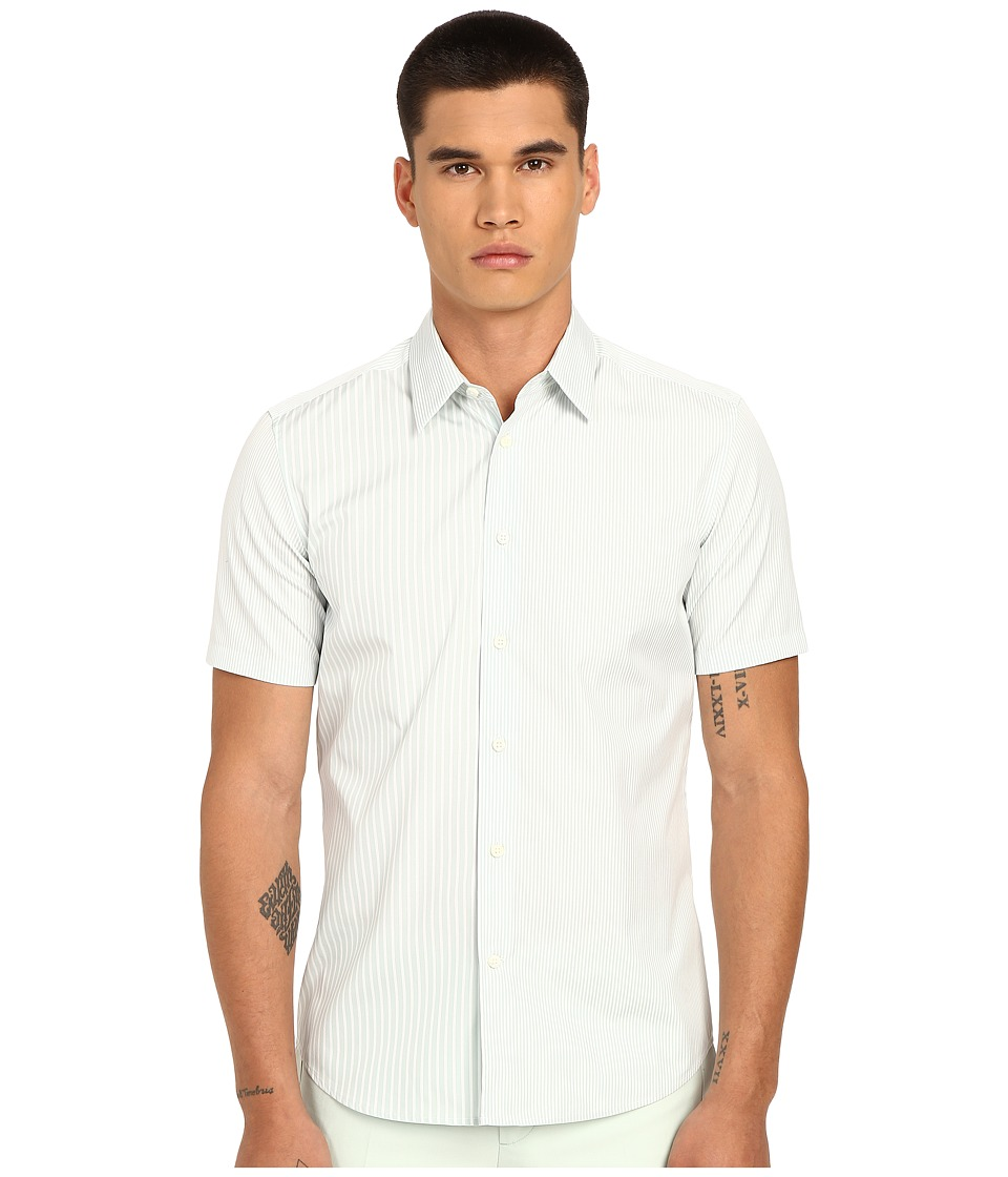 Marc Jacobs - Summer Stripe Slim Short Sleeve Button Up (Mint Stripe) Men's Short Sleeve Button Up