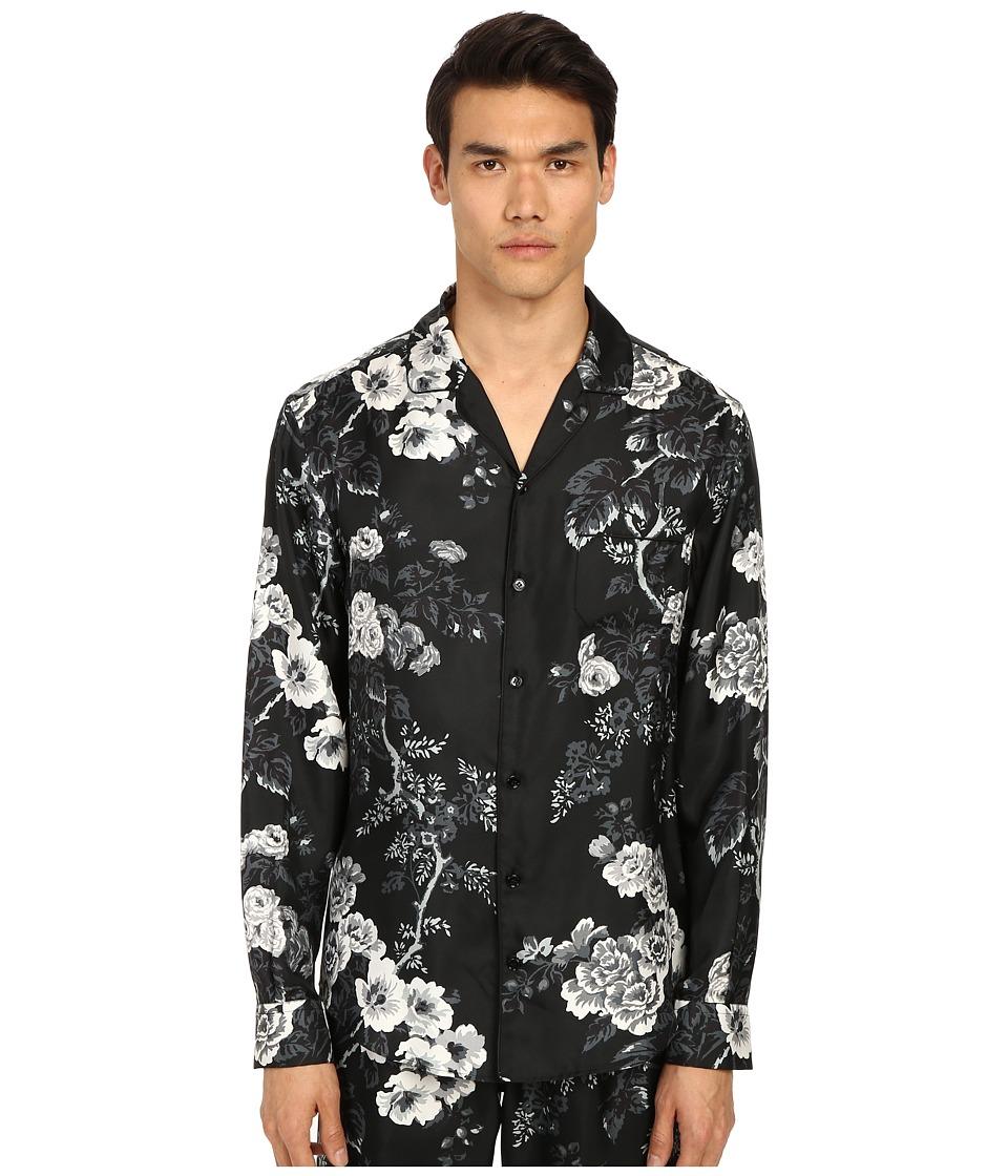 Dolce & Gabbana - Pajama Shirt (Black/White Rose Print) Men's Pajama
