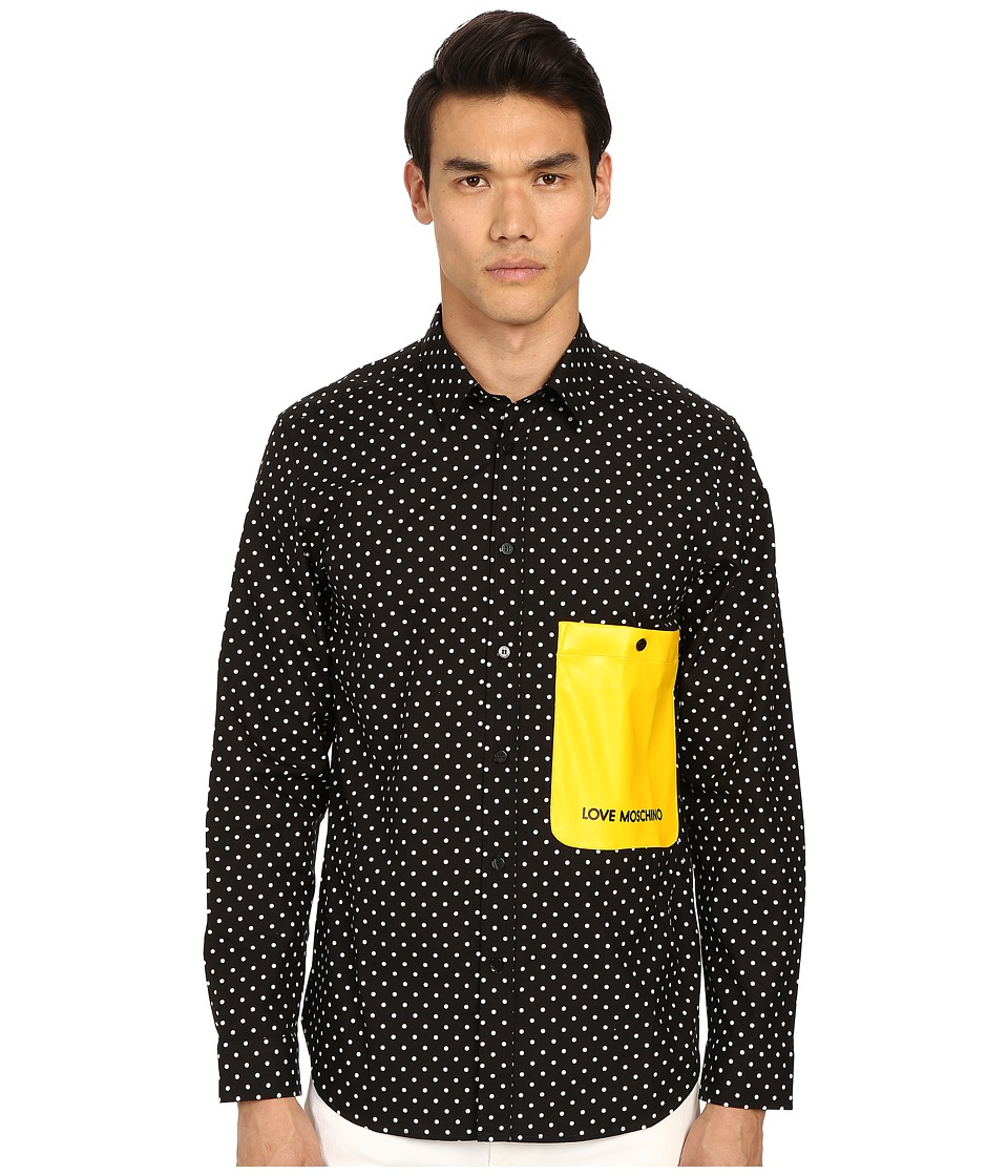 LOVE Moschino - Polka Dot Woven Shirt with Contrast Pocket (Black) Men's Long Sleeve Button Up