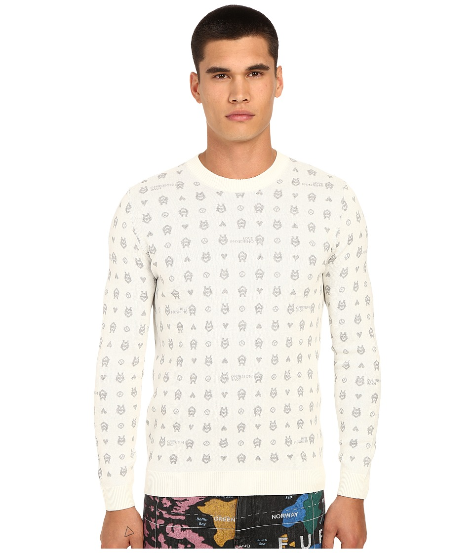 LOVE Moschino - Logo Print Knit Sweater (Off-White/Grey) Men's Sweater