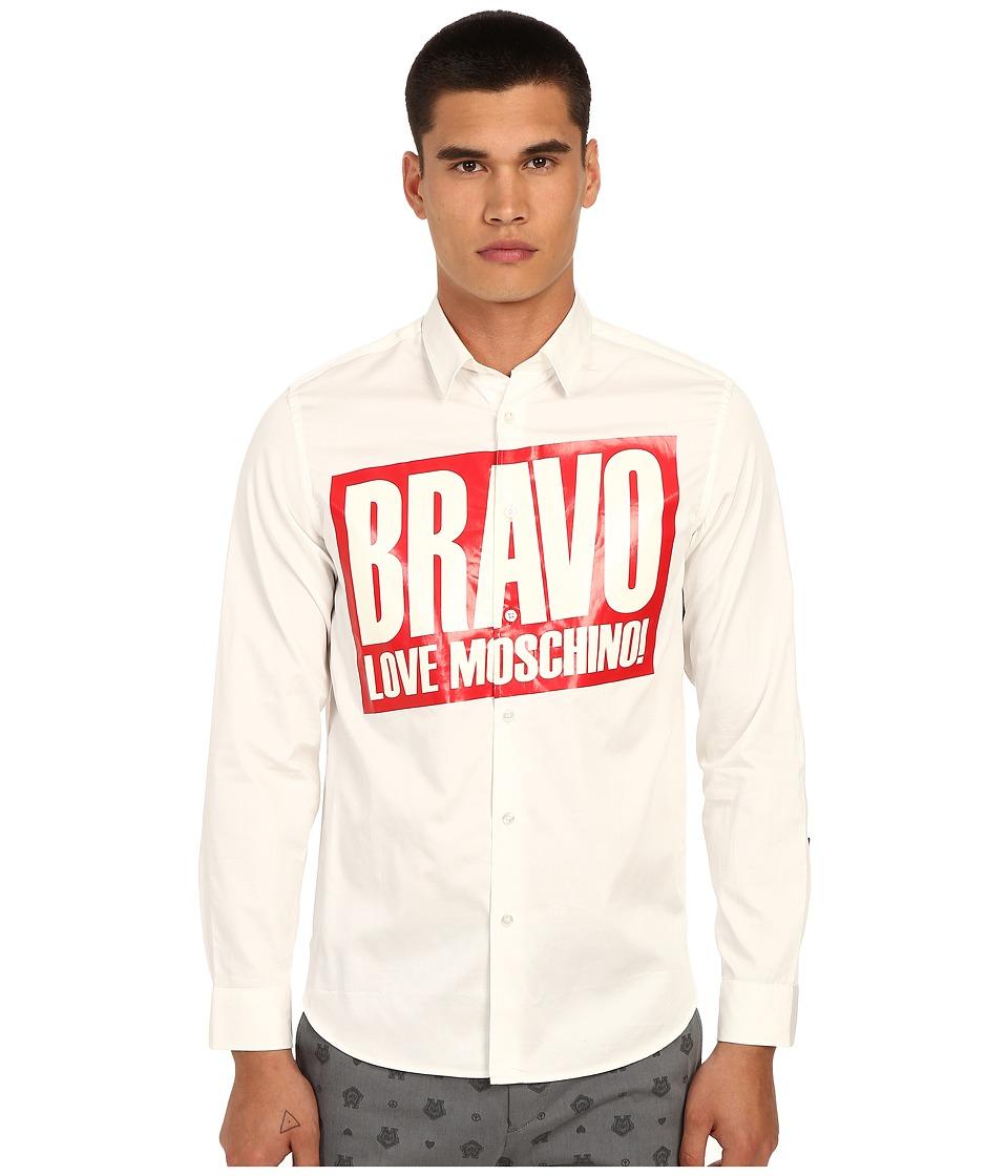 LOVE Moschino - Bravo Graphic Woven Shirt (White) Men's Clothing