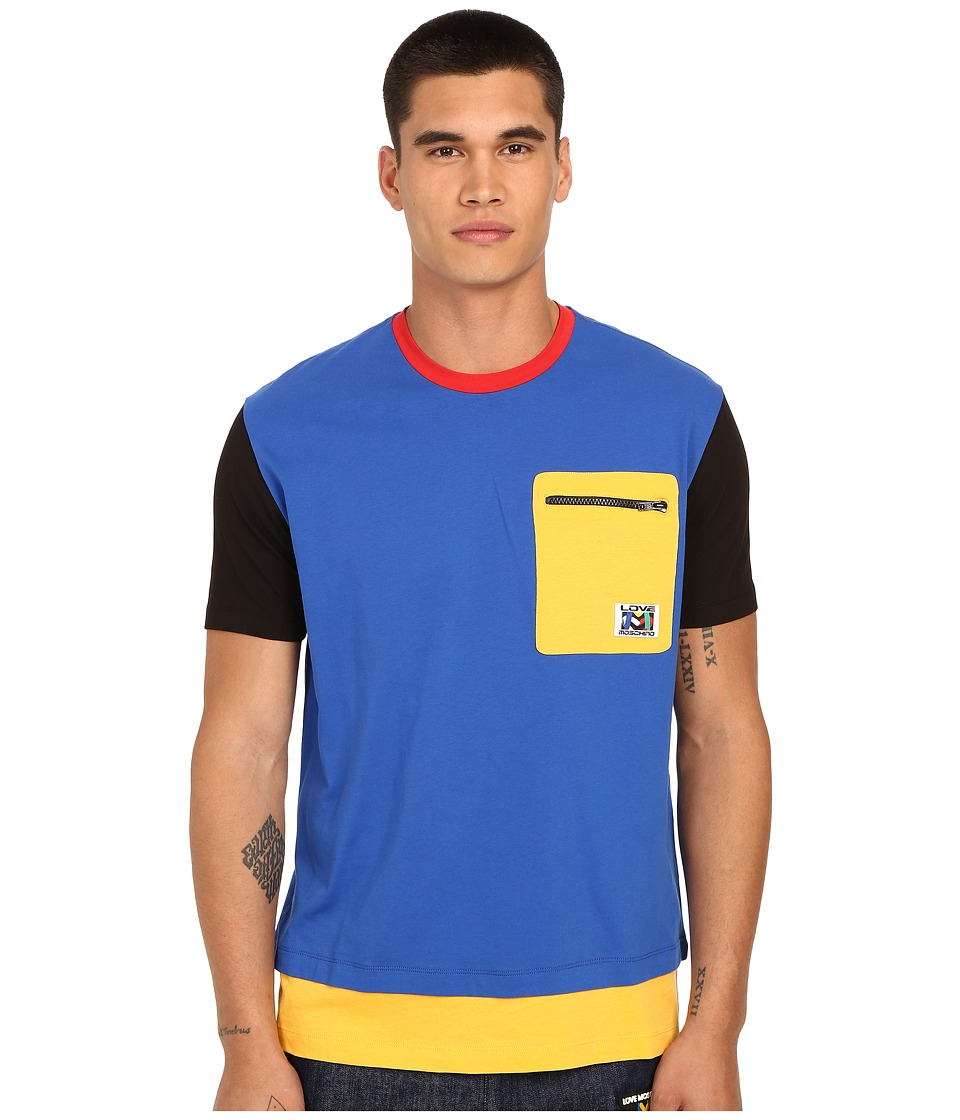 LOVE Moschino - Color Block Tee Shirt (Azure) Men's T Shirt