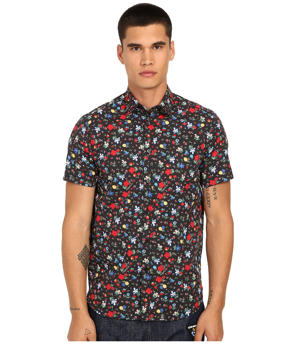 LOVE Moschino - Floral Short Sleeve Woven Tee (Black Multi) Men's T Shirt