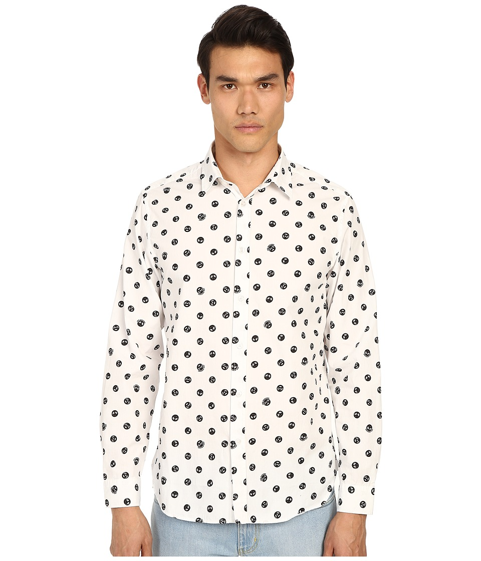 LOVE Moschino - Peace Sign Printed Woven Shirt (White/Black) Men's Long Sleeve Button Up
