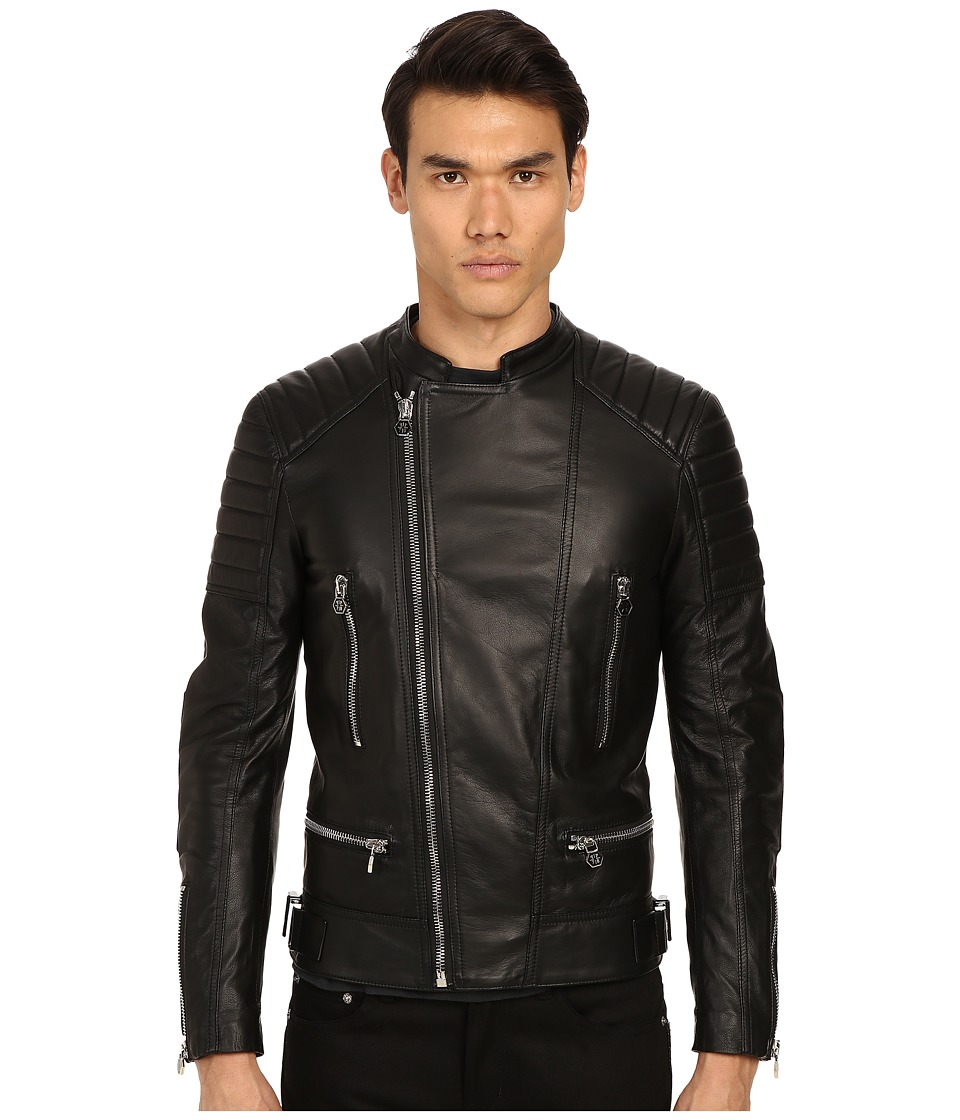 Philipp Plein - Leather Motor Jacket (Black) Men's Coat