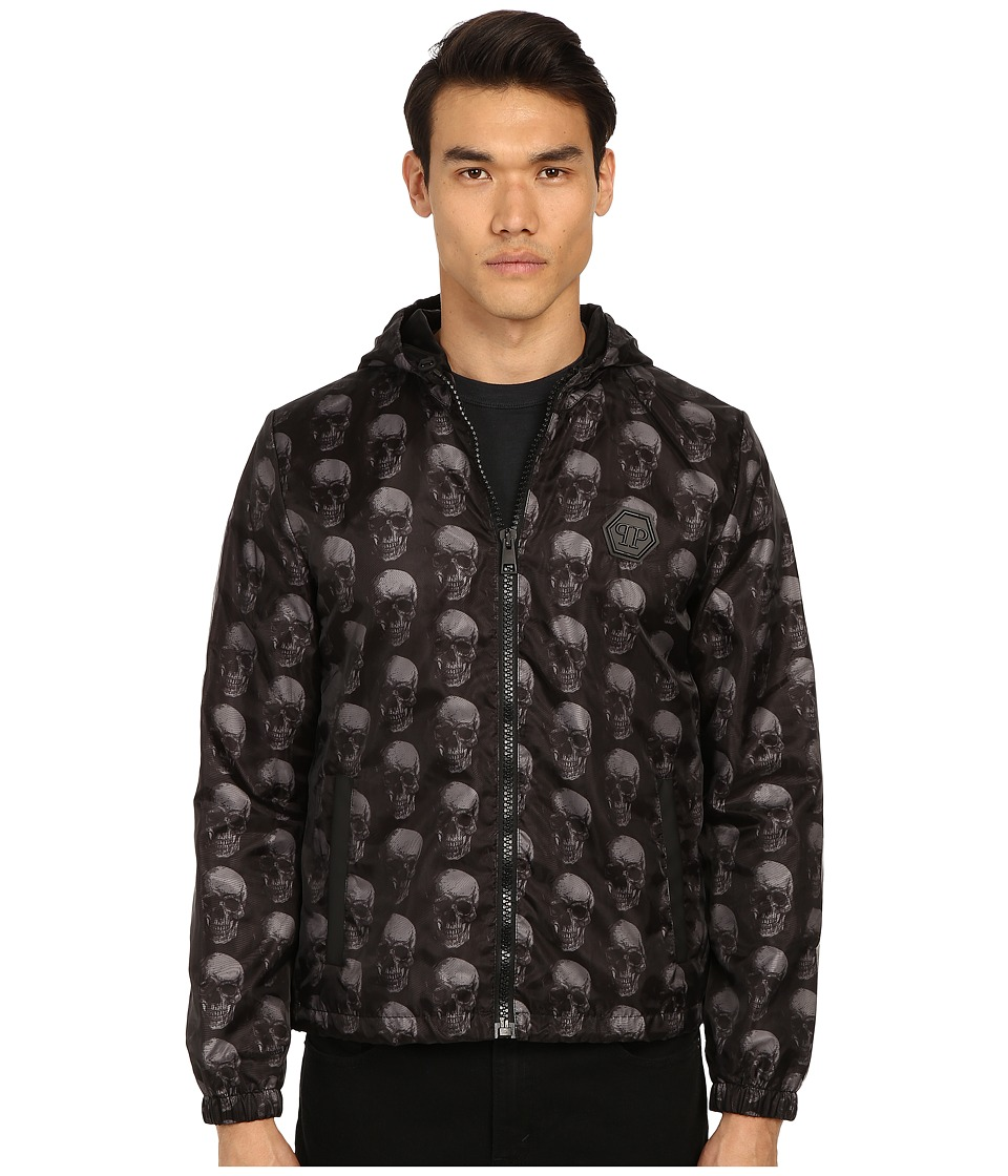 Philipp Plein - Mark Hooded All Over Skull Jacket (Black) Men's Coat