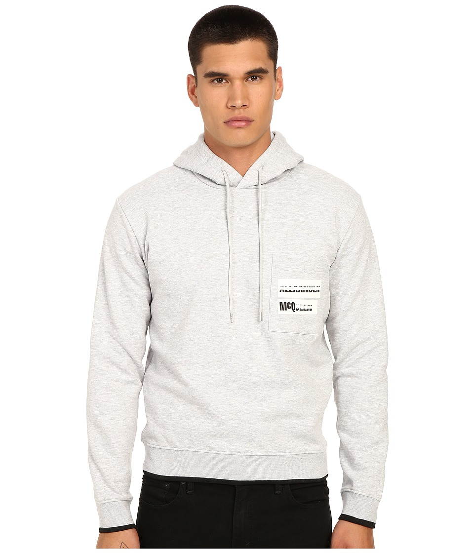 McQ - Pocket Clean Hoodie (Clean Grey Melange) Men's Sweatshirt