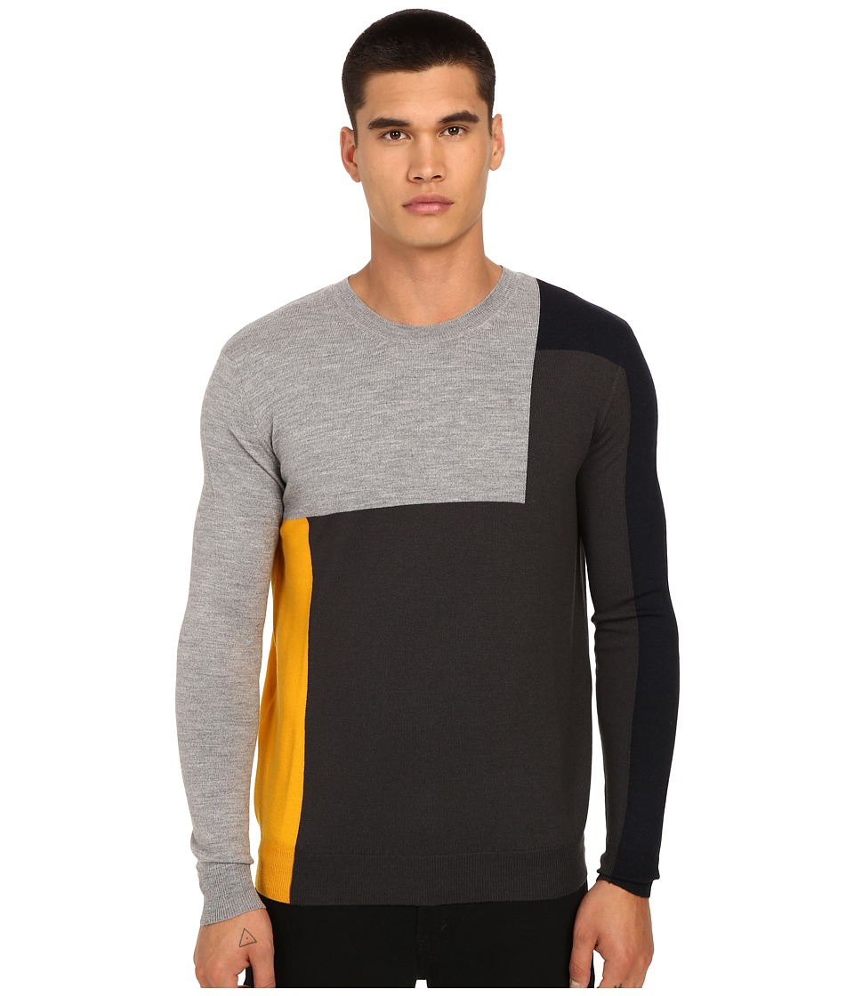McQ - Color Block Crew Neck Tee (Amber Color Block) Men's T Shirt