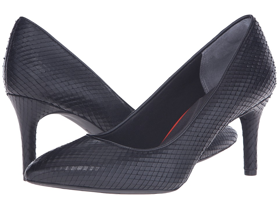 Rockport - Total Motion 75mm Pointy Toe Pump (Black Diamond Snake) High Heels