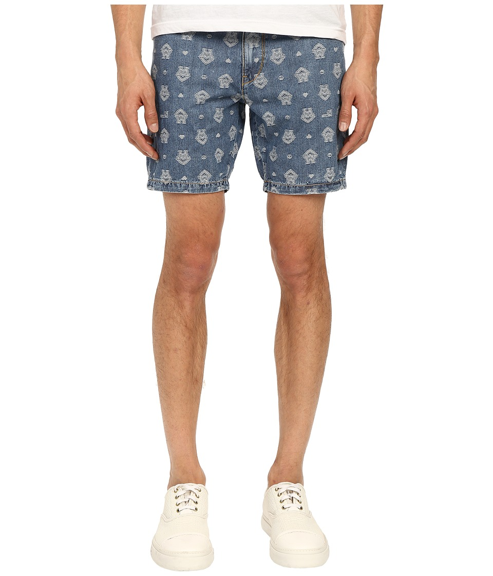 LOVE Moschino - Logo Print Denim Shorts (Denim) Men's Shorts