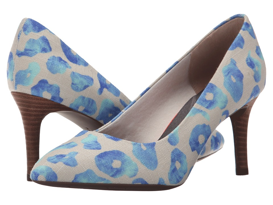 Rockport - Total Motion 75mm Pointy Toe Pump (Blue Leo Canvas) High Heels