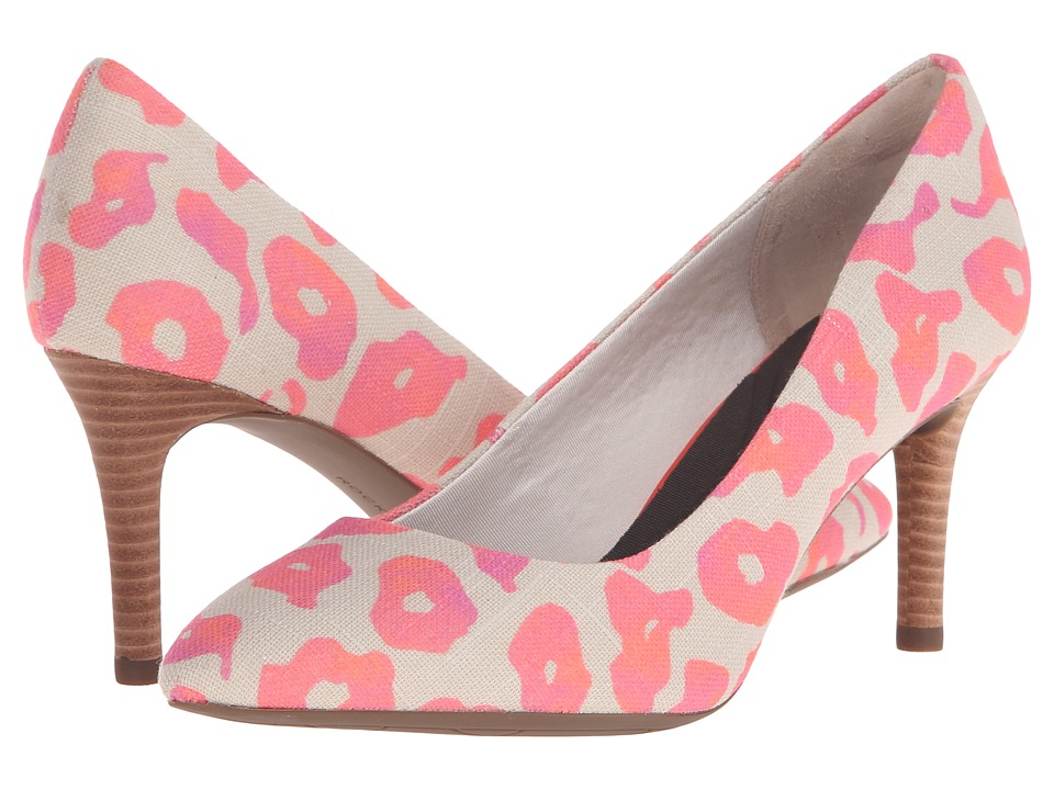 Rockport - Total Motion 75mm Pointy Toe Pump (Pink Leo Canvas) High Heels