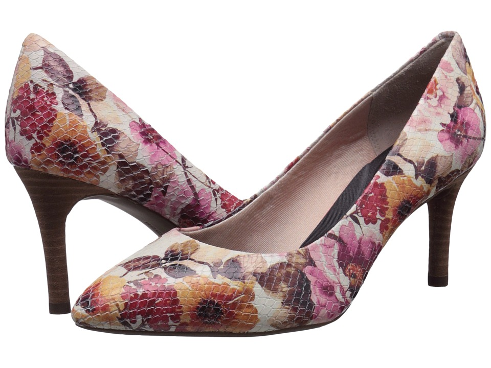 Rockport - Total Motion 75mm Pointy Toe Pump (Pink Floral Leather) High Heels