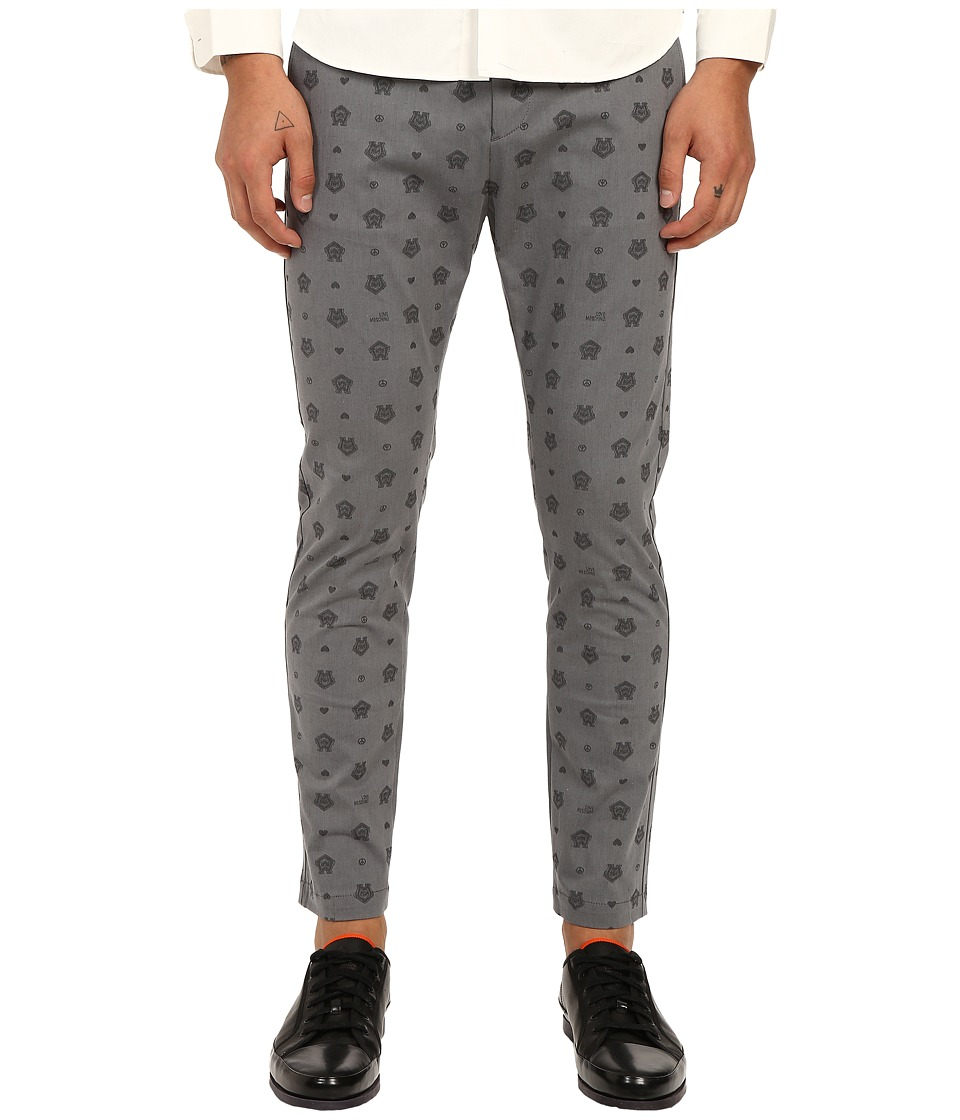 LOVE Moschino - Logo Print Chino Pants (Grey/Black) Men's Casual Pants