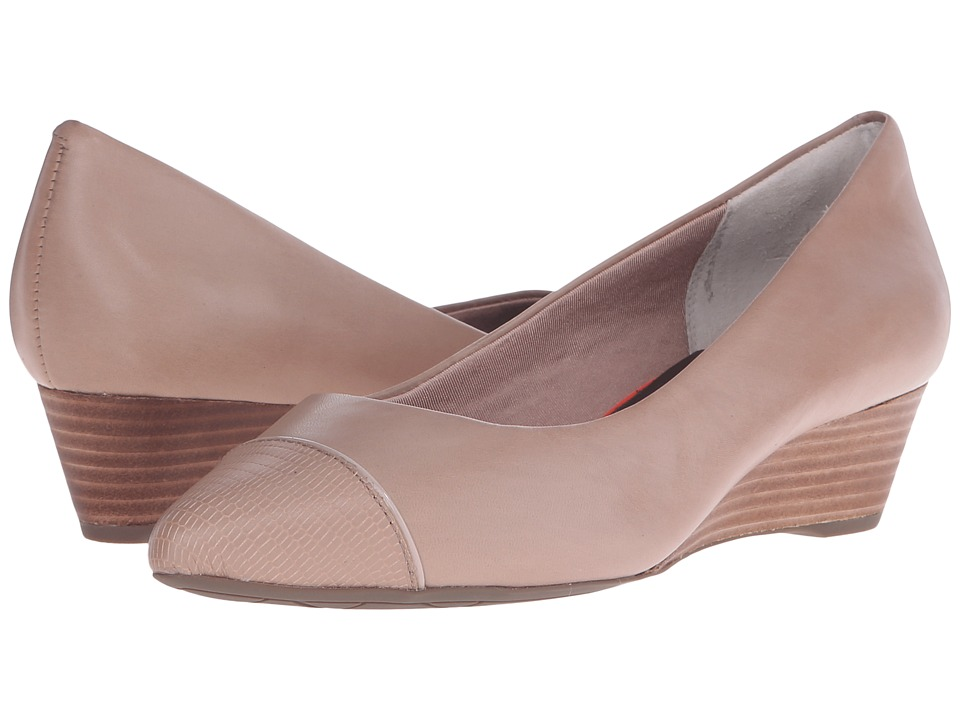 Rockport - Total Motion Annett Cap Toe Wedge (Warm Taupe Brown Calf/Lizard) Women's Wedge Shoes