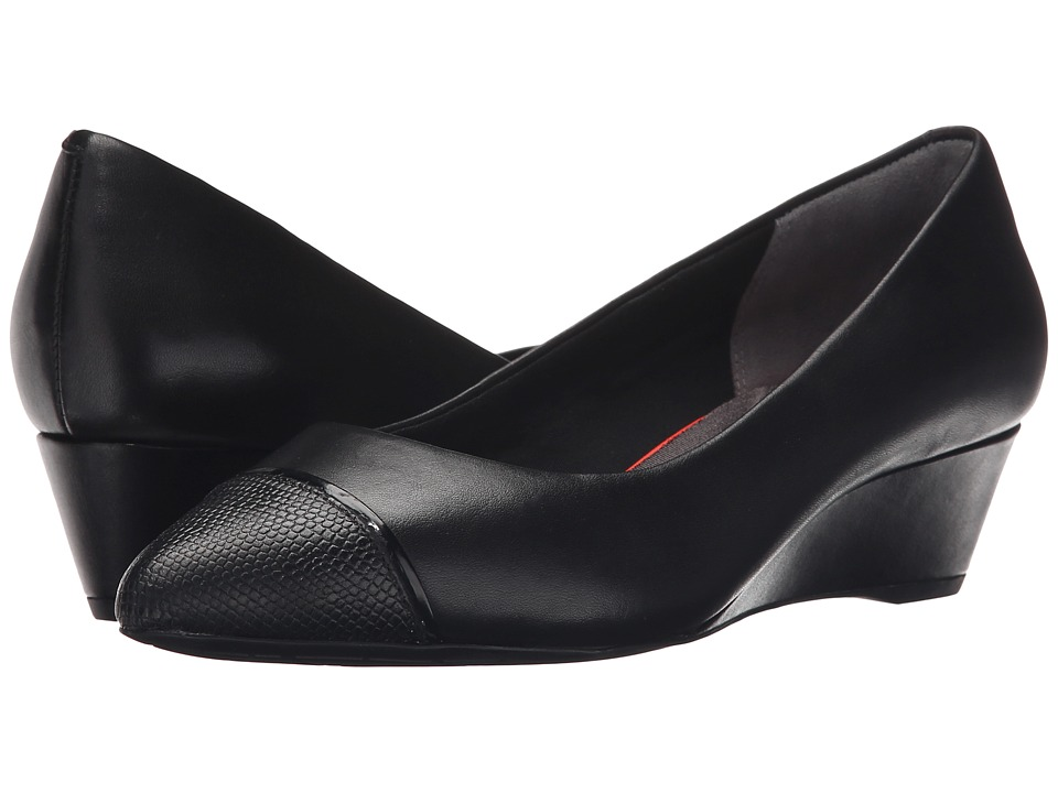 Rockport - Total Motion Annett Cap Toe Wedge (Black Burn Calf/Lizard) Women's Wedge Shoes