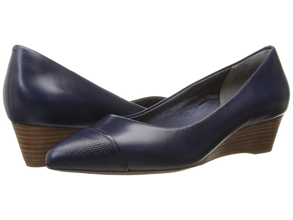 Rockport - Total Motion Annett Cap Toe Wedge (Deep Ocean Brown Calf/Lizard) Women's Wedge Shoes